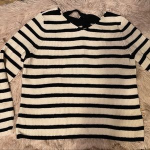 LOFT Black and White Striped Sweater. Sz M